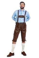 Anton | Trachtenlederhose Herren | schoko braun | inkl. Hosenträger | Lederhose aus bestem Velourleder | Kniebundhose - 1