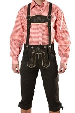 Bayerische Herren Trachten Lederhose, Trachtenlederhose mit Trägern, original in dunkelbraun, Oktoberfest, Größe 54 - 1