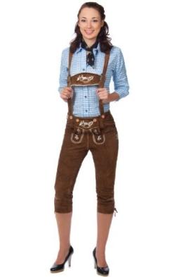 Damen Trachten Kniebundhose braun aus feinstem Rindsveloursleder Gr 34 - 1