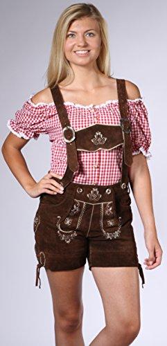 Damen Trachten Lederhose Damenhose mit Trägern aus feinstem Veloursleder in dunkelbraun, Bayrische Trachtenlederhose für das Oktoberfest Größe 34, 36, 38, 40, 42, 44, 46 - 1