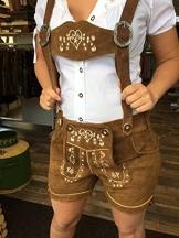 Damen Trachten Lederhose Heidi braun Orginal Achim Klein (38) - 1