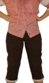 Damen Trachten lederhose Kniebundhose Damenlederhose Dunkelbraun/Weiß, Größe:42 - 1