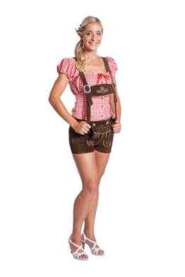 Damen Trachten Lederhose kurz mit Hosenträgern - Original FROHSINN dunkelbraun (36) - 1