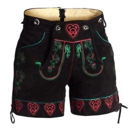 Damen Trachten Lederhose kurz mit Trägern in schwarz mit hübscher Stickerei in den Größen 36 - 1