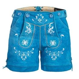 Damen Trachten Lederhose m. Trägern Blau Größe 38 - 1