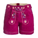 Damen Trachten Lederhose m. Trägern Pink Größe 36 - 1