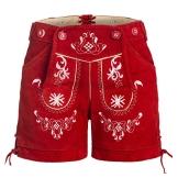 Damen Trachten Lederhose mit Trägern Rot 36 - 1