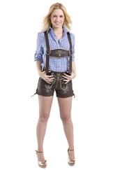Damen Trachten Lederhose - Vintage kurz - Büffelleder Trachtenlederhose - Hose dunkelbraun (40) - 1