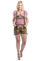 Damen Trachtenlederhose Kolibri kurz Trachten Lederhosen braun sexy Hotpants echtes Leder Hose Trachtenhose (38, Braun) - 1