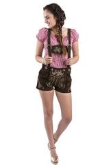 Damen Trachtenlederhose kurz Trachten Lederhose dunkelbraun Trachtenhose Hotpants Lederhose Jugendstil dunkelbraun Groesse 38 - 1