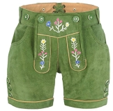 exklusive Damen Lederhose mit Trägern, grün, Größe 36 - 1