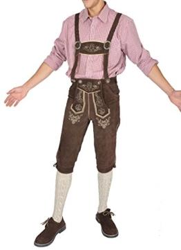 Herren Trachten Lederhose aus Rindvelour dunkelbraun (50) - 1