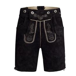 Herren Trachten Lederhose Bundhose kurz mit Trägern aus Rindveloursleder in schwarz Gr. 48 - 1