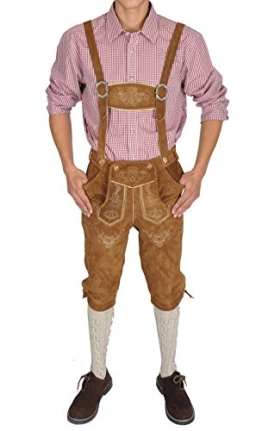 Herren Trachten Lederhose hellbraun 100% Rindsvelourleder (52) - 1