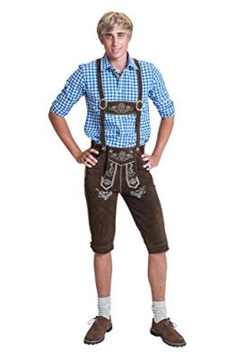 Herren Trachten Lederhose Kniebundhose mit Trägern aus Rindsvelourleder (46) - 1