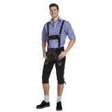 Herren Trachten Lederhose Kniebundhose mit Trägern aus Rindvelourleder E200SW54 - 1