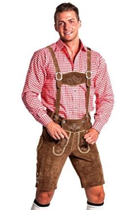 Herren Trachtenlederhose - kurz mit abnehmbaren Hosenträgern - Trachten Hose Original FROHSINN - hellbraun, dunkelbraun und schwarz - (hellbraun, 50) - 1