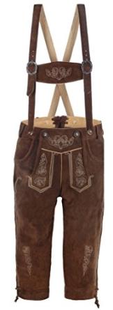 hochwertige Herren Trachten-Lederhose aus Echtleder mit traditioneller Stickerei, braun/mittelbraun, Größe 54 - 1
