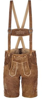 hochwertige kurze Herren Trachten-Lederhose aus Echtleder mit traditioneller Stickerei, hellbraun, Größe 48 - 1