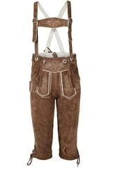 Jungen Isar-Trachten Kniebundlederhose für Kinder braun bestickt, braun, 176 - 1