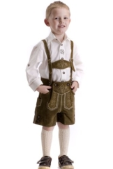 Kinder Lederhose Maximilian, rehbraun, aus hochwertigem, weichem Rindsleder 104 - 1