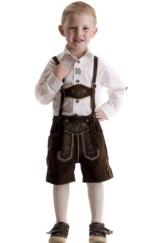 Kinder Lederhose Michael, dunkelbraun, aus hochwertigem, weichem Rindsleder 104 - 1