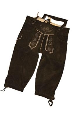 Kinder Trachten Kniebund Lederhose dunkelbraun aus feinstem Rindsveloursleder inkl. Hosenträger Gr. 164 - 1
