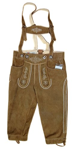 Kinder Trachten Kniebund Lederhose Hansi mit Träger und Bestickung Ziegenvelour in Wildbockqualität, Farben:braun;Größen:104 - 1