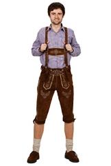 Kniebund Trachten Lederhose, super Passform, versch. Farben, 100% Echtleder, Dunkelbraun 52 - 1