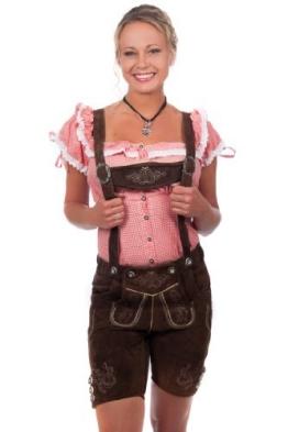 Kurze Damen Trachten Lederhose braun aus feinstem Rindsveloursleder Gr 38 - 1