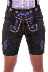 Kurze Damen Trachten Lederhose schwarz aus feinstem Rindsveloursleder Gr 44 - 1