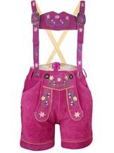 PAULGOS Damen Trachten Lederhose --- Echtes Leder --- Pink Kurz M1, Größe:36 - 1