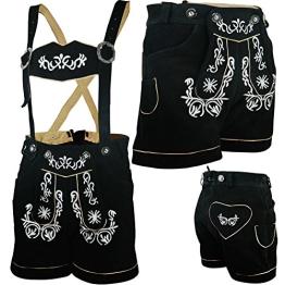 PAULGOS Damen Trachten Lederhose --- Echtes Leder --- Schwarz --- Kurz M2, Damen Größe:38 - 1