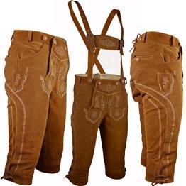 PAULGOS Trachten Lederhose --- Echtes Leder --- Kniebund --- Hellbraun / Rehbraun ---, Herren Größe:52 - 1