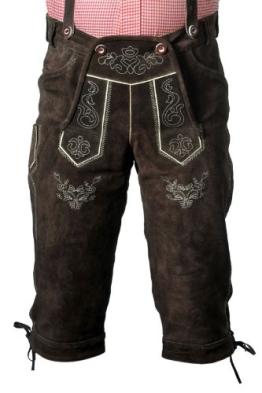 Trachten Lederhose Herren in dunkelbraun aus Rindveloursleder in Größe 50 - 1