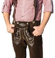 Trachten Lederhose Kniebundhose trachtenhose mit Hosenträger Braun, Herrengröße:50 - 1