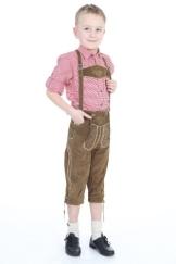 traditionelle bestickte Kniebundhose mit Latz und Stegträger in braun, diese Kinder Lederhose lässt sich wunderbar mit einenm Trachtenhemd kombinieren, Größe: 134 Farbe: OLIV-BRA - 1